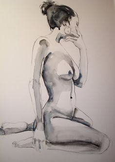 Alan White figure studies in watercolour & pastel: Contemplation