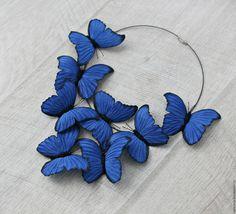 """Leather butterflies necklace / Купить Колье """"Морфо Дидиус Синий"""" - синий, кожаные украшения, подарок, подарок девушке"""