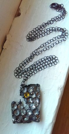 Cast from real honeycomb, citrine and silver necklace