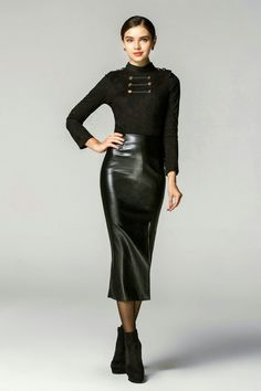 Leather skirt ankle boots