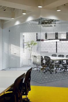 Polka Dotted window film for the office.