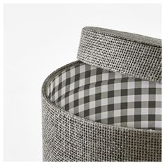 KVARNVIK grey, Box, set of These round-shaped boxes are like fashionable boxes of the past. Perfect for storing scarves or other accessories. Woven paper on the outside and an extra touch with a check-pattern lining on the inside. At Home Furniture Store, Modern Home Furniture, Ikea, Small Storage, Storage Boxes, Storage Ideas, How To Store Scarves, Storing Scarves, Recycling Process