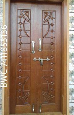 Wooden Front Door Design, Wooden Double Doors, Main Entrance Door Design, Double Door Design, Wooden Front Doors, The Doors, Door Design Photos, Home Door Design, Pooja Room Door Design