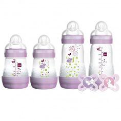 Kit de Mamadeiras Anti-Cólica + Chupetas MAM com BPA livre - Lilás  Alimente seu bebê com amor e cuidado com este adorável Kit de Mamadeiras Anti-Cólica + Chupetas com BPA livre da MAM. Você e seu bebê vão amar!