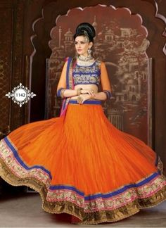 Baronial Orange Net Satin Crush Embroidery Border Lehenga Choli