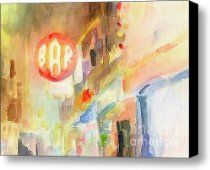 Bar 8th Avenue Watercolor Painting of New York Canvas Print / Canvas Art - Artist Beverly Brown P...