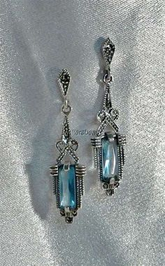 Beautiful Marcasite Sterling Silver 925 Blue Topaz Earrings Art Deco Style