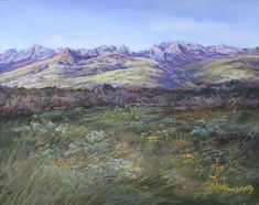 """In this Davis Mountains ranchland of arid Far West Texas, it's all about grass, and summer rains. """"In the Softness of a Davis Mountain Summer"""" pastel © Lindy Cook Severns, Fort Davis TX artist Available as a uniquely hand-repainted print Pastel Landscape, Landscape Paintings, Fort Davis, Bull Riders, Affordable Wall Art, Summer Rain, Southwest Art, Le Far West, Online Art"""