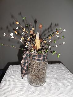 Primitive-Autumn-candle-decor-new-battery-candle-Harvest-pip-berries-pine-cones