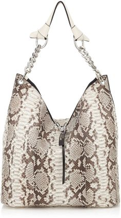 Raven Natural Matt Python Shoulder Bag by Jimmy Choo  Raven Natural Matt Python Shoulder Bag by Jimmy Choo Available Sizes: One Size  DetailsAn easy to wear and practical shoulder bag. The shoulder strap features two knot details made from beautifully soft and supple leather which has been tied to a rich metal ring that links to the chain strap for a touch of sophistication. Raven has a double zip closure for easy internal access and additional security. The two zipper pulls add luxurious…