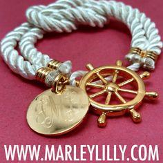 Monogrammed White Nautical Rope Bracelet | Marley Lilly