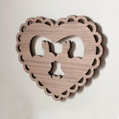 Kissing Bunnies Valentine - Wooden Wall Decor