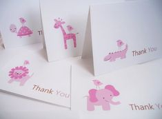 Baby Girl Shower Thank You Cards  Baby Girl Zoo by twin2kim, $12.00