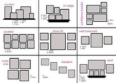 Cheat sheet on how to arrange frames on the wall