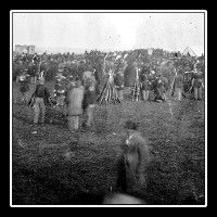 A photograph of the crowd during the dedication of the Gettysburg National Cemetery. It was during this event President Lincoln gave his Gettysburg Address.