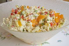 Reissalat mit Mandarinen, ein raffiniertes Rezept aus der Kategorie Schnell und … Tangerine salad with tangerines, a refined recipe from the category Quick and easy. Rice Recipes, Salad Recipes, Healthy Recipes, Bulgur Salad, Fried Rice, Soul Food, Potato Salad, Food And Drink, Lunch