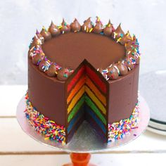 A rainbow cake is fun to look at and eat and a lot easier to make than you might think. Here's a step-by-step guide for how to make a rainbow birthday cake. Beautiful Cakes, Amazing Cakes, Kreative Desserts, Chocolate Buttercream, Cake Chocolate, Belgian Chocolate, Chocolate Rainbow Cake Recipe, Chocolate Birthday Cake Kids, Chocolate Birthday Cake Decoration