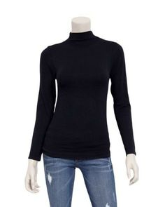 Ladies Black Seamless Long Sleeve Turtleneck Top