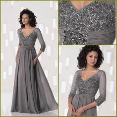 2014 New Distinctive Custom-made V-neck Three Quarter Chiffon Delicate beading mother of the bride dresses plus size Party Dress £90.38