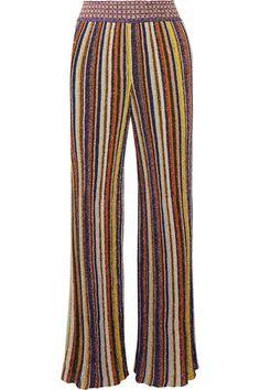 MISSONI Striped metallic crochet-knit wide-leg pants. #missoni #cloth #pants