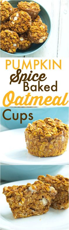 These Pumpkin Spice Baked Oatmeal cups are a perfect portable, breakfast to go idea! It's a healthy recipe with whole grains and low sugar. I also added 3 tbsp of flax meal and voila - we have Lactation Pumpkin Spice Baked Oatmeal cups! Baked Oatmeal Muffins, Healthy Baked Oatmeal, Baked Oatmeal Recipes, Pumpkin Spice Muffins, Baked Oats, Breakfast On The Go, Breakfast Ideas, Breakfast Cups, Breakfast Healthy