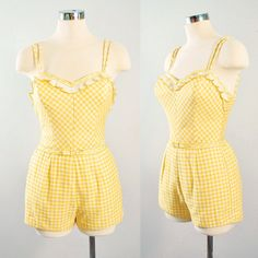 82ffc0489fe Vintage 50s JANTZEN PLAYSUIT Romper   1950s Yellow White Gingham Check  Plaid EMBROIDERED Floral Cotton Pinup Sunsuit Rockabilly Xs Small S