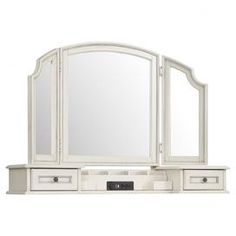 Two-drawer vanity hutch with a felt-lined sliding jewelry tray and seven felt compartments. Includes a power bar with two electrical outlets and a charging port.  Product: Hutch and vanity mirrorConstruction Material: Hardwood solids and oak veneer Color: D