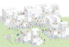 This theorical project by Japanese architects Riken Yamamoto & Field Shop reconsidered how people could live in Local Comunity. Social Housing Architecture, Architecture Design, Co Housing, Architecture Concept Diagram, Architecture Panel, Architecture Graphics, Architecture Visualization, Architecture Drawings, Yamamoto