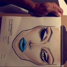 "Carlos González on Instagram: ""blue lips, perfect contour, glow skin, and just one eyes with lashes! @facecharts #facechart #makeup #makeupartistsworldwide #macfacecharts #perfectskincare #artexpression #thesouthbeactakeover2016 #igmakeupartistry #facechartartist#facechartaddiction #facechartbycocko"""