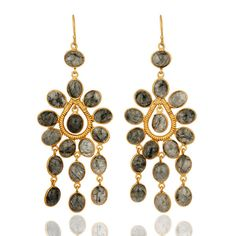 Natural Tourmalinated Quartz Gemstone Earrings With 24k Yellow Gold Vermeil #Dhruvansh #DropDangle