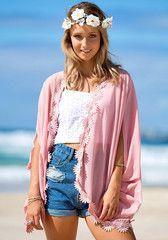 Daisy Trim Kimono - Open Front Top