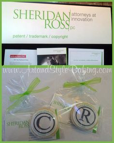 """Cookie Charm logo cookies with your company's #logo have many uses:  Business card; Thank you gifts for clients; Tradeshow giveaways; Employee meetings; Corporate event favors; Employee/client recognition.  Using their corporate colors, we created these cookies for a client that is a Trademark Law Firm. The """"Copyright"""" and """"Registered"""" cookies, with the company name, were a tasty reminder about the unique services the law firm provides their clients."""