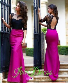 Fuchsia Satin Black Lace Half Sleeves Prom Dress Open Back Mermaid Long Formal Party Gowns