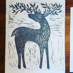 Finished deer print #printmaking #linocut #art #maker #Tennessee #deer #get_imprinted #etsyseller #homedecor #home #art