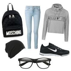 Untitled #78 by alicia-mafli on Polyvore featuring polyvore fashion style Ally Fashion Frame Denim NIKE Moschino