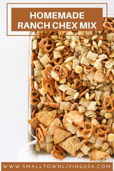 Homemade Ranch Chex Mix is so flavorful! Plus, the ranch taste is extra yummy right out of the oven. Chez Mix Recipes, Snack Mix Recipes, Chex Mix Recipes Bold, Homemade Chex Mix, Homemade Ranch, Baked Chex Mix Recipe, Party Mix Recipe, Chex Party Mix, Crock Pot