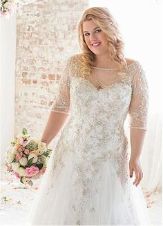 Brilliant Tulle Bateau Neckline Dropped A-line Plus Size Wedding Dresses With Beaded Embroidery