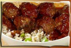 Hawaiian Meatballs on  Rice.