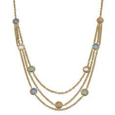"36"" + 2"" Ultra Long 14 Karat Gold Plated Brass Multistone Necklace"