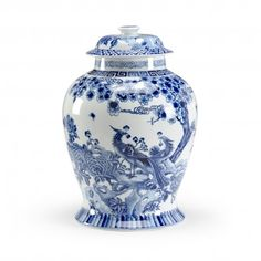 THE WELL APPOINTED HOUSE - Luxuries for the Home - THE WELL APPOINTED HOME Blue and White Peacock Design Porcelain Covered Jar