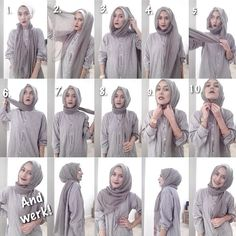 easy way to wear hijab with gown.Hijab style step by step tutorials. Stylish Hijab, Casual Hijab Outfit, Hijab Chic, Hijab Dress, Tutorial Hijab Segitiga, Simple Hijab Tutorial, Muslim Fashion, Hijab Fashion, Beau Hijab