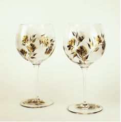 Painted CRYSTAL  Wine Glasses  Hand Painted by HandPaintedPetals, $96.00