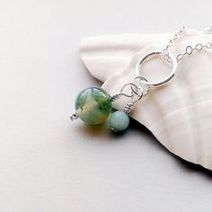 Moss agate gemstone charm The Gardener's Stone by ShinyTinyThings