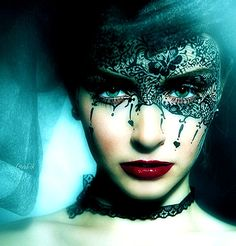 @Trevor James Christensen This is the exact concept I thought of when I found out we could use the liquid liner to do a detailed drawing on Sandra. Black lace and face paint.