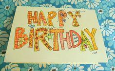 Happy Birthday Big Card Original Watercolor door betrueoriginalart