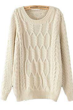 Beige White Retro Cable Knit Sweater