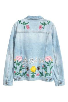 Giubbotto di jeans ricamato - Blu denim chiaro/fiori - DONNA | H&M IT