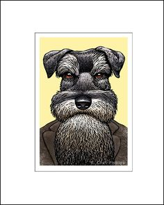 Signed portrait of Fido Dostoyevsky by Chet Phillips. This signed portrait print by Chet Phillips is from the series Literary Pets 2. Schnauzer dog portrait of author Fyodor Dostoyevsky. The series creates famous authors as dog and cat personalities. This image is approximately 4.5 x