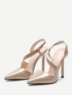 5cf4339cef856 Pointed Toe Wavy Straps Patent Leather Stiletto Heels In Tan