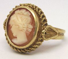 Vintage 18K Gold Shell Cameo Ring - For sale on Ruby Lane